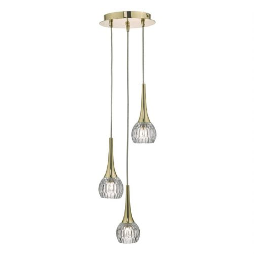 Lyall 3lt Cluster Pendant Gold & Glass (double insulated) BXLYA0335-17